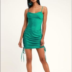NEW Lulu's Satin Ruched Mini Dress